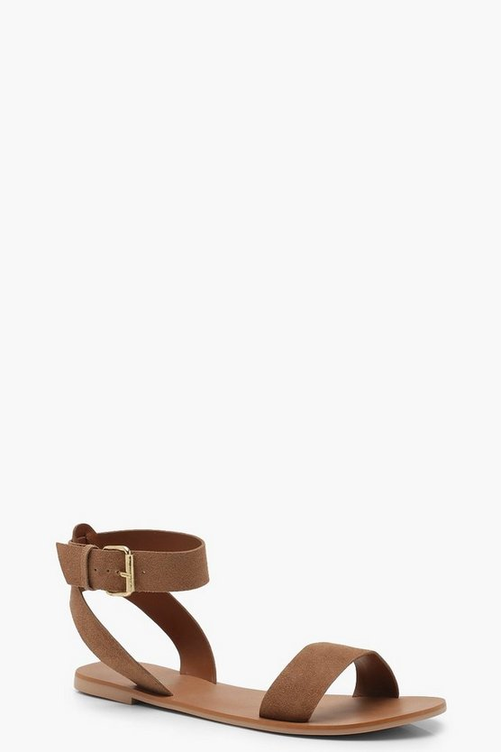 Womens Tan Two Part Suede Sandals