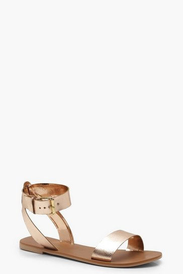 Womens Rose gold Two Part Ankle Strap Leather Sandals