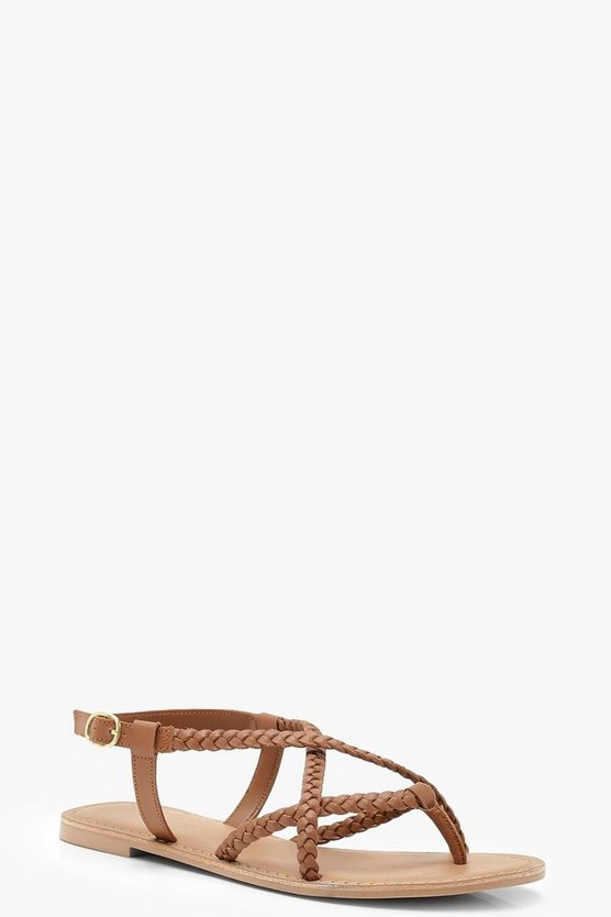 Tan Plaited Cross Strap Leather Sandals