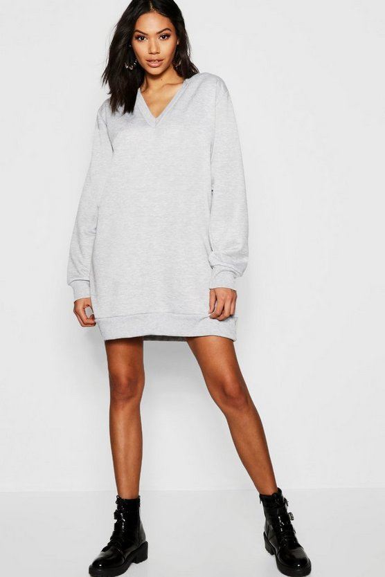 Oversized V Front Loop Back Sweat Dress