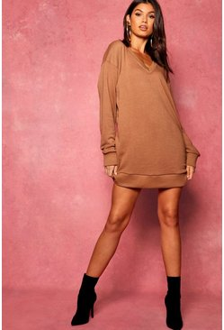 Womens Mocha Oversized V Front Loop Back Sweat Dress