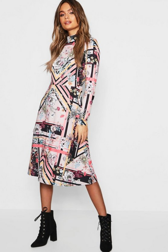 High Neck Long Sleeve Floral Midi Dress