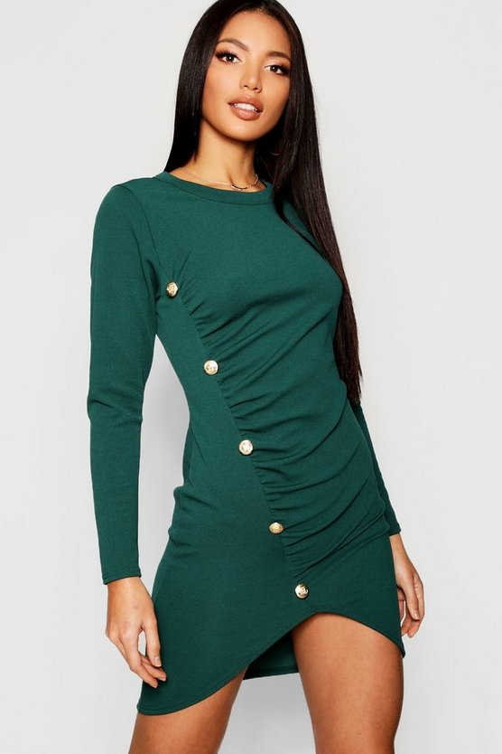 Rouched Gold Button Bodycon Dress