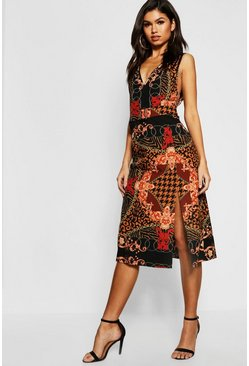 Womens Black Chain Print Buckle Pinafore Midi Dress