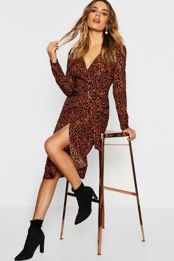 Leopard Print Buckle Detail Wrap Midi Dress