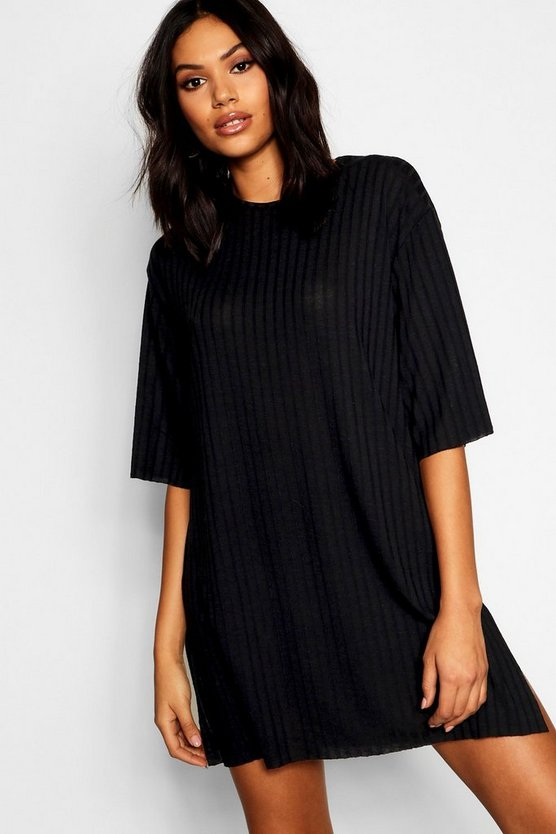 Womens Black Rib Side Split Oversized T-Shirt Dress