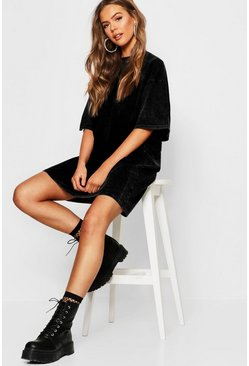 Womens Black Washed Oversized T-Shirt Dress