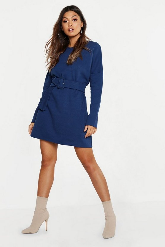 Womens Self Belted Oversized Sweat Dress
