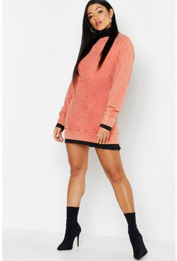 Womens Terracotta High Neck Acid Wash Sweat Dress