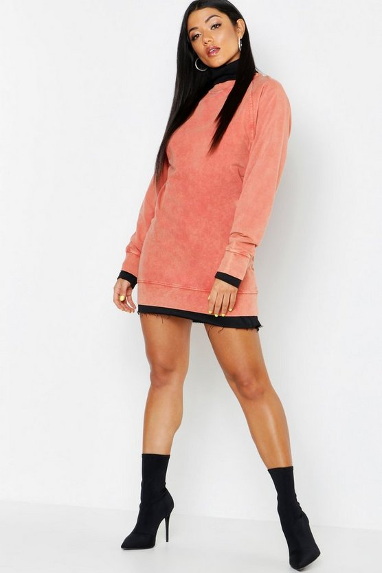 Womens High Neck Acid Wash Sweat Dress