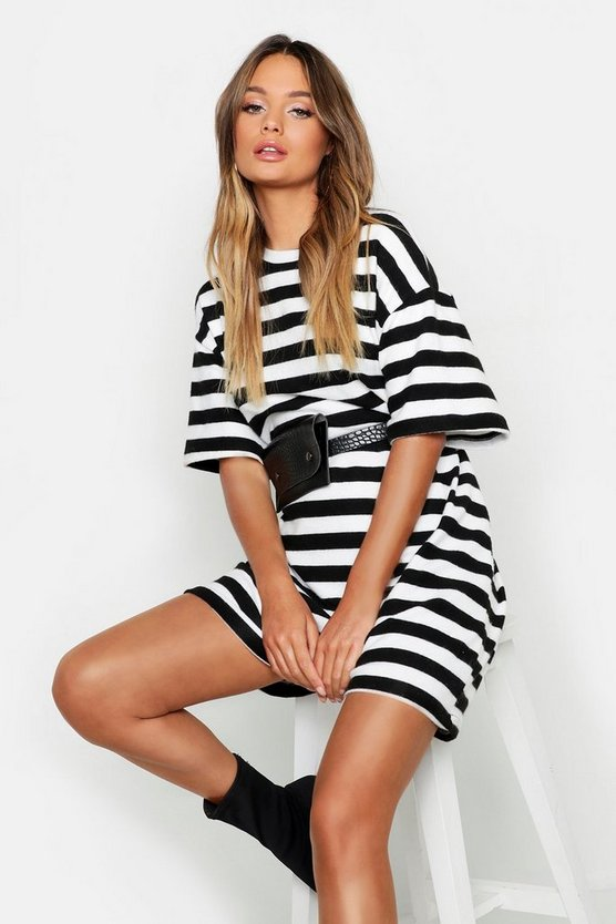 Black Brushed Stripe Oversized T-Shirt Dress