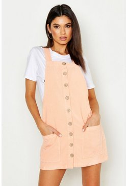 Womens Peach Button Through Cord Pinafore Dress