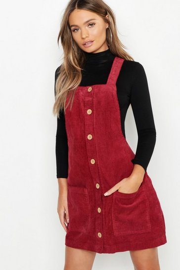 Womens Wine Button Through Cord Pinafore Dress