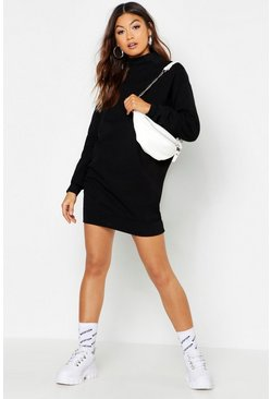 Womens Black High Neck Brushback Sweat Dress