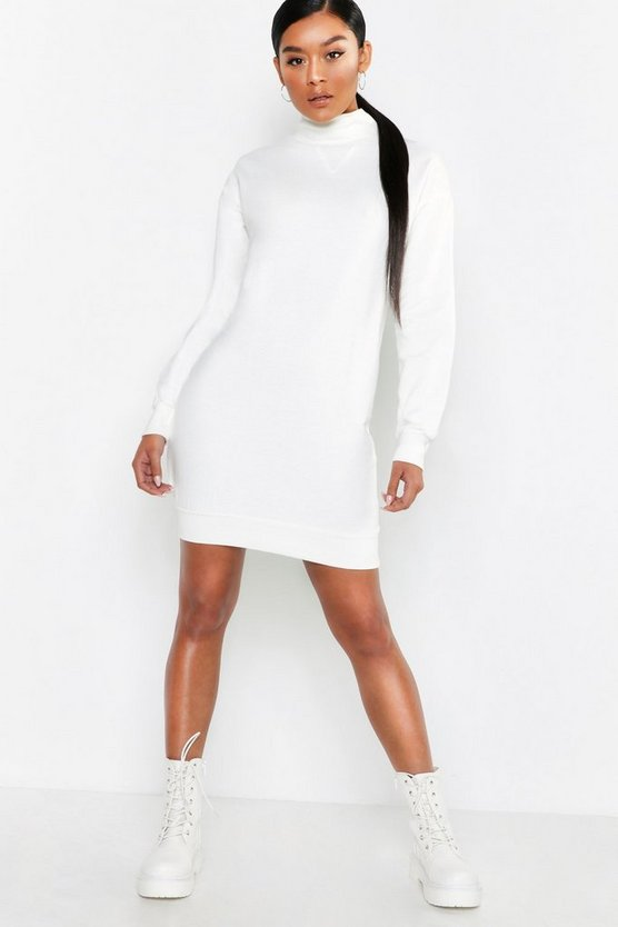 High Neck Brushback Sweat Dress