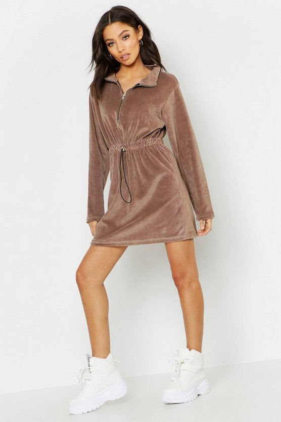 High Neck Drawcord Velour Mini Dress