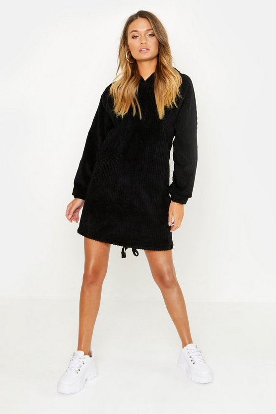 Womens Black Oversized Chunky Cord Hooded Dress