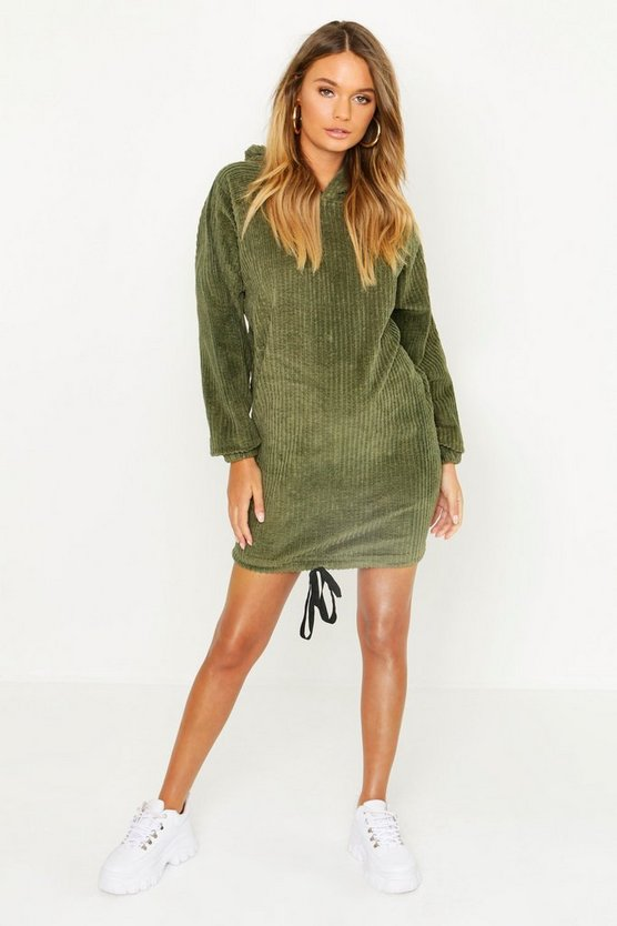 Oversized Chunky Cord Hooded Dress