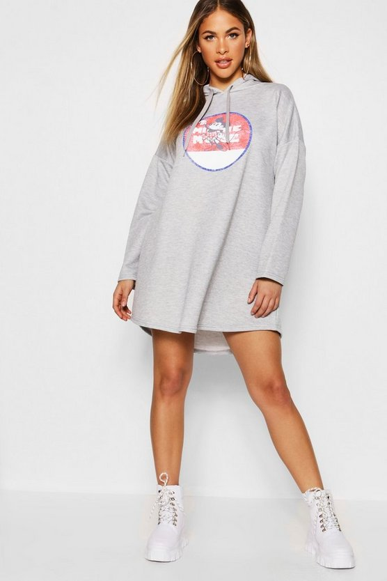 Womens Grey marl Disney Vintage Minnie Hooded Swing Sweatshirt Dress
