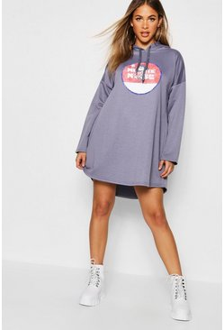Womens Washed blue Disney Vintage Minnie Hooded Swing Sweatshirt Dress
