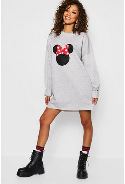 Womens Grey marl Disney Minnie Bow Balloon Sleeve Sweatshirt Dress