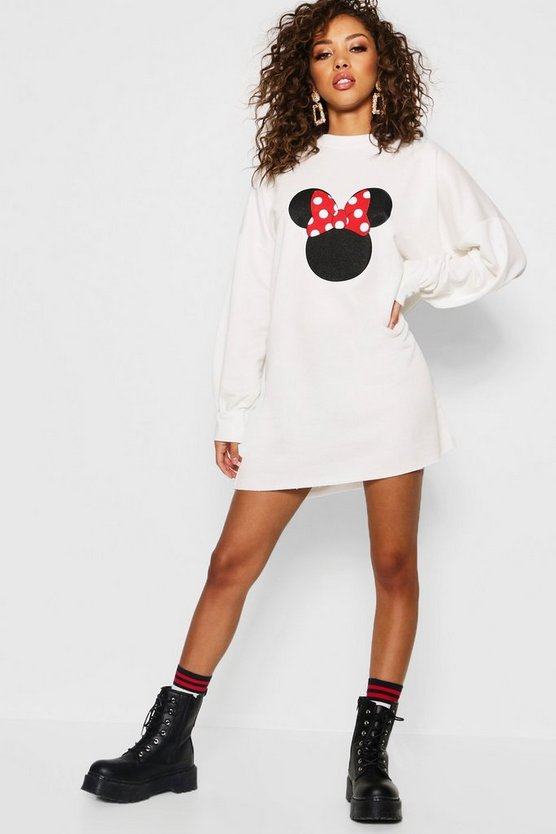 Disney Minnie Bow Balloon Sleeve Sweatshirt Dress