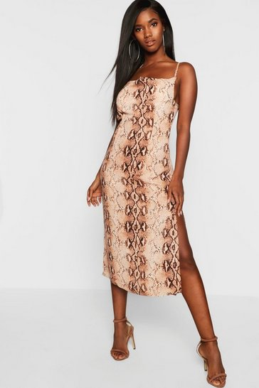 Womens Brown Snake Print Strappy Cowl Front Midi Slip Dress