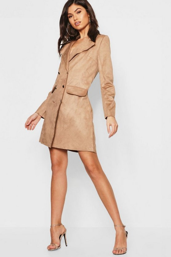 Suedette Double Breasted Blazer Dress