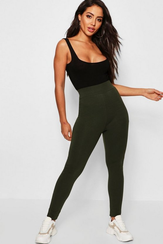 Womens Khaki Basic High Waisted Leggings