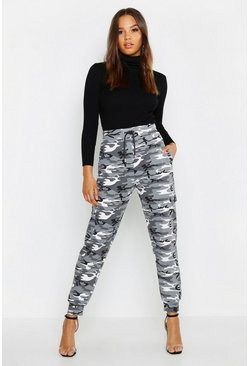 Womens Black High Waist Marl Camo Loopback Joggers
