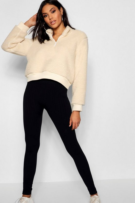 Womens Black Cable Knit Leggings