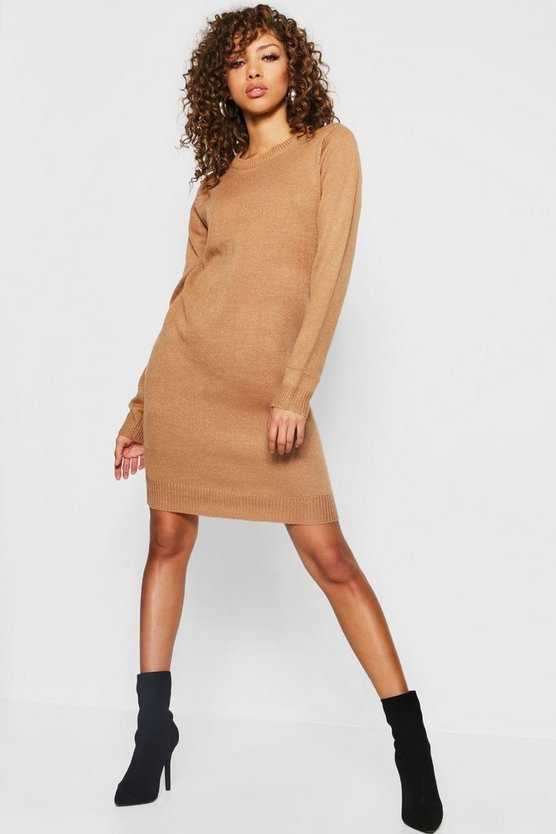 Womens Camel Crew Neck Long Sleeve Knitted Dress