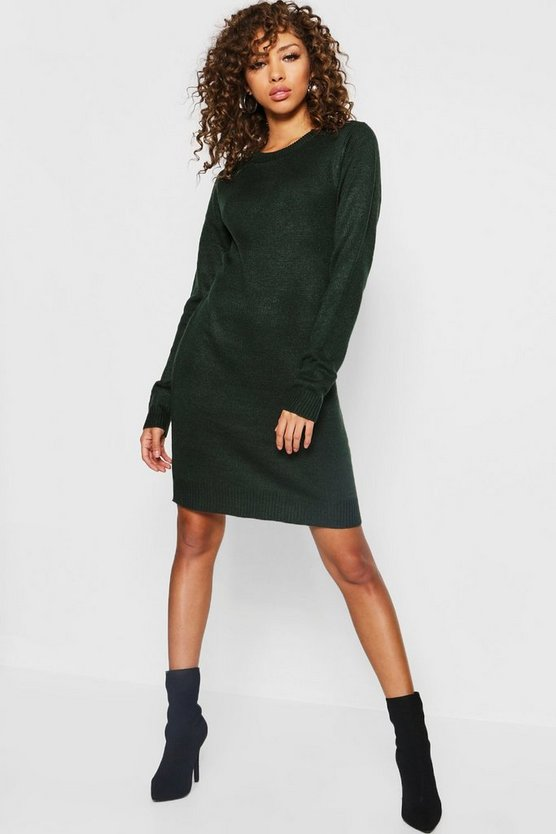 Crew Neck Long Sleeve Knitted Dress