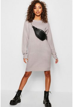 Womens Grey Crew Neck Long Sleeve Knitted Dress