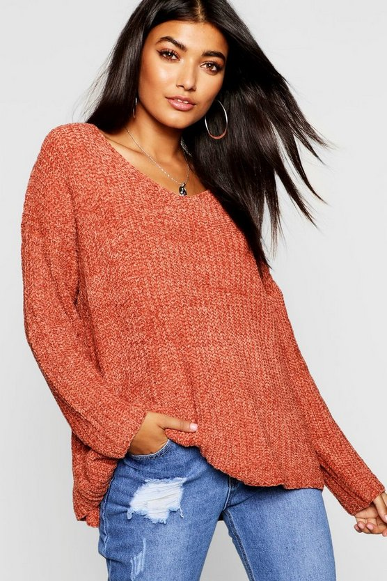 V Neck Oversized Chenille Jumper