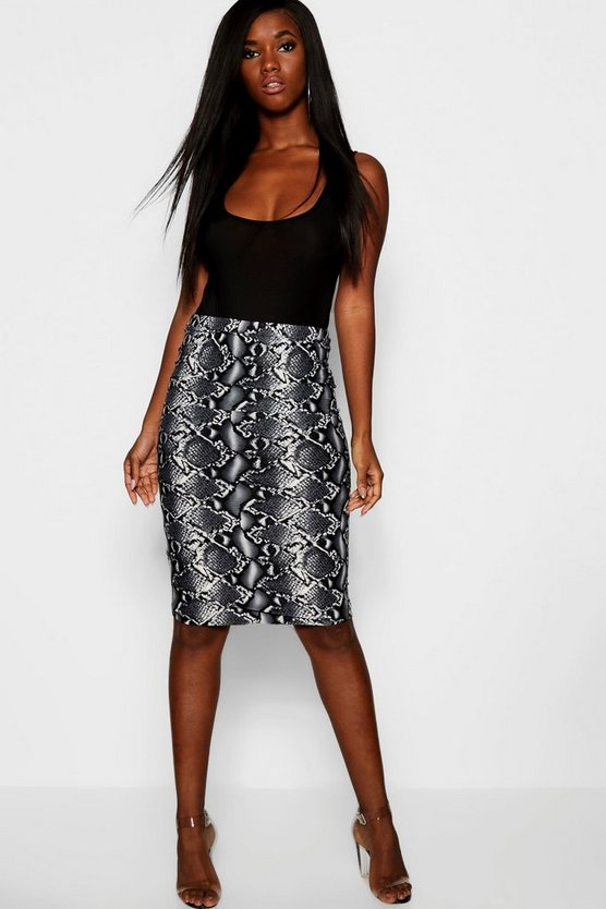 Womens Grey Snake Print Midi Skirt