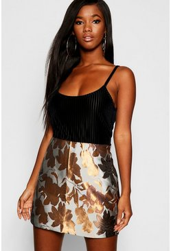 Womens Rust Floral Jacquard Mini Skirt
