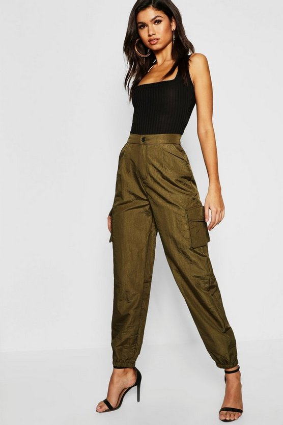 Womens Khaki Satin Cargo Trouser