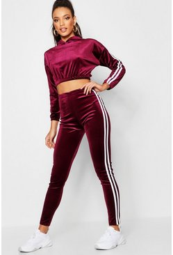 Womens Wine Stripe Side Velvet Pants Co-Ord Set
