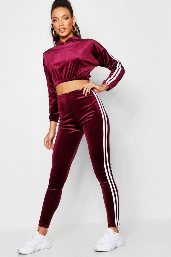 Stripe Side Velvet Trouser Co-Ord Set, Wine, Женские