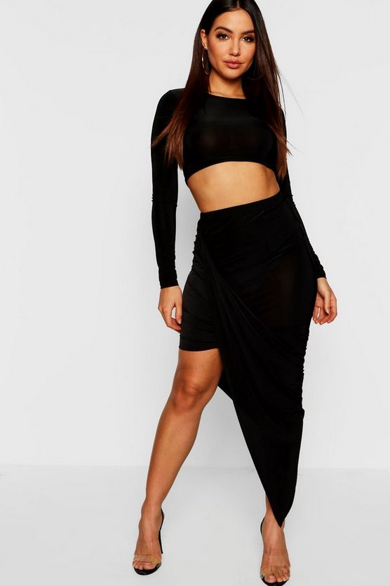 Womens Black Long Sleeve Top + Wrap Detail Mini Skirt Co-Ord