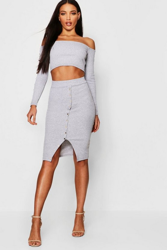 Knitted Rib Skirt Co-Ord Set