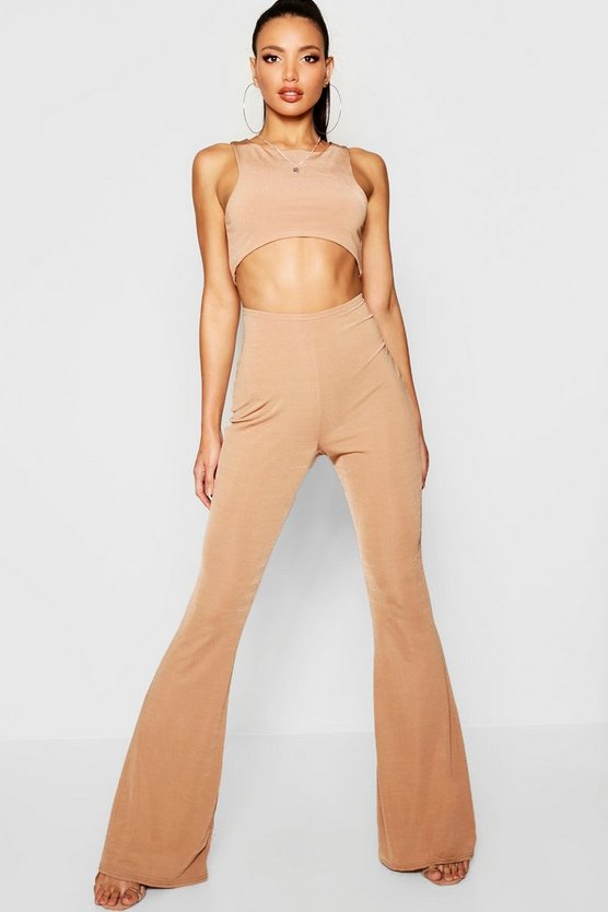 Womens Camel Curved Hem Top + Kick Flare Trouser Co-Ord