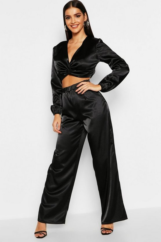 Womens Black Satin Wrap Detail Top + Wide Leg Pants Co-Ord
