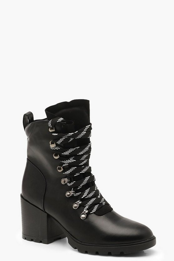 Womens Black High Chunky Hiker Boots