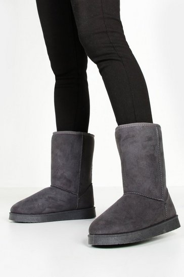 Womens Grey Short Cosy Boots