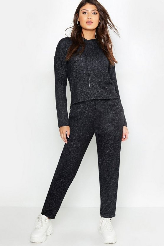 Womens Charcoal Soft Touch Knitted Jogger