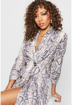 Womens Stone Snake Print Double Breasted Blazer Dress