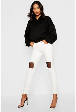 Womens White Fishnet Detail Ripped Skinny Jeans