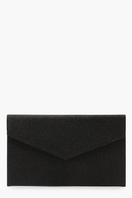 Womens Black Glitter Envelope Clutch